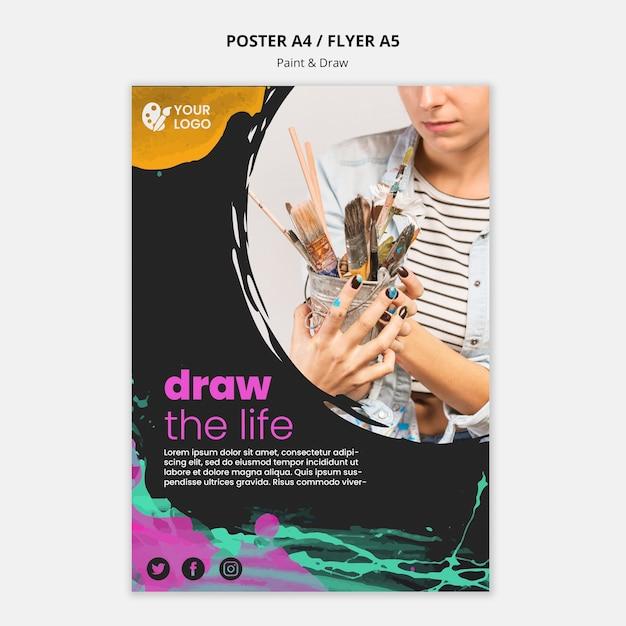 Modèle De Flyer Pour Les Artistes De Dessin Et De Peinture Psd gratuit
