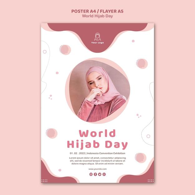Modèle De Flyer Pour La Célébration De La Journée Mondiale Du Hijab Psd gratuit