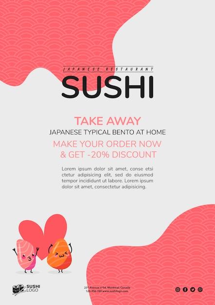 Modèle De Flyer Restaurant Sushi Asiatique Psd gratuit