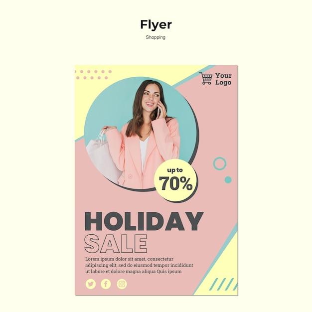 Modèle De Flyer De Vente De Vacances Shopping Psd gratuit