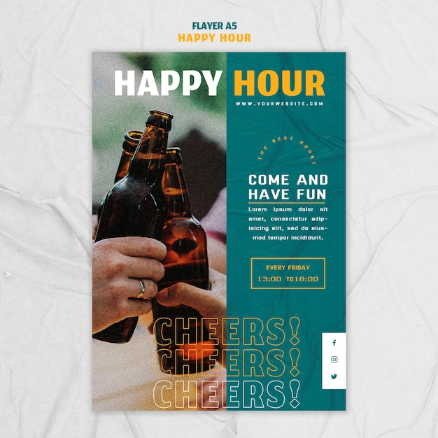 Modèle De Flyer Vertical Pour Happy Hour Psd gratuit
