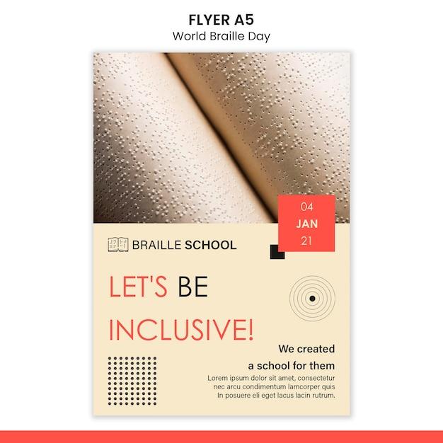 Modèle De Flyer Vertical Pour La Journée Mondiale Du Braille Psd gratuit