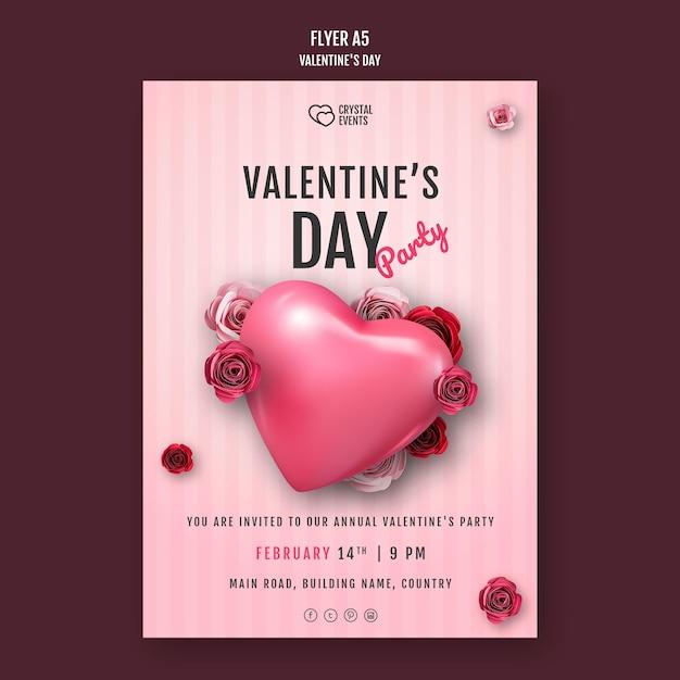 Modèle De Flyer Vertical Pour La Saint-valentin Avec Coeur Et Roses Rouges Psd gratuit