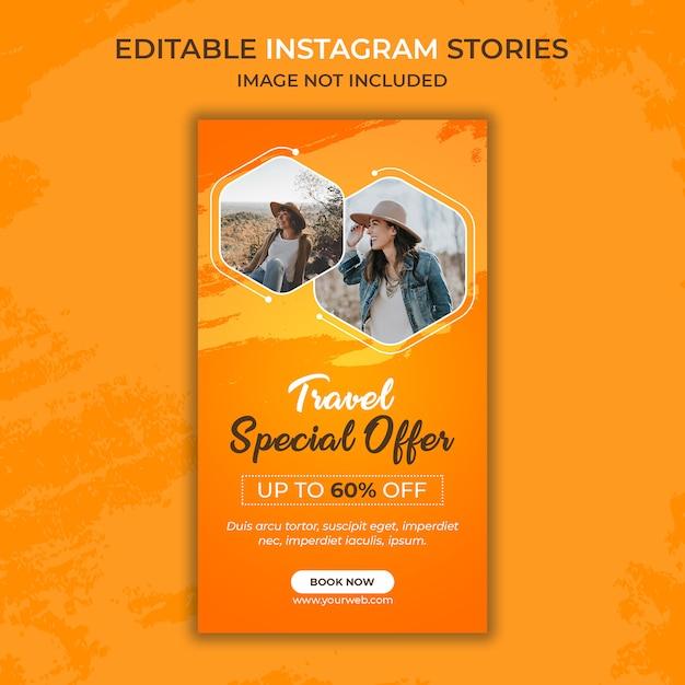 Modèle D'histoire Instagram De Voyage PSD Premium