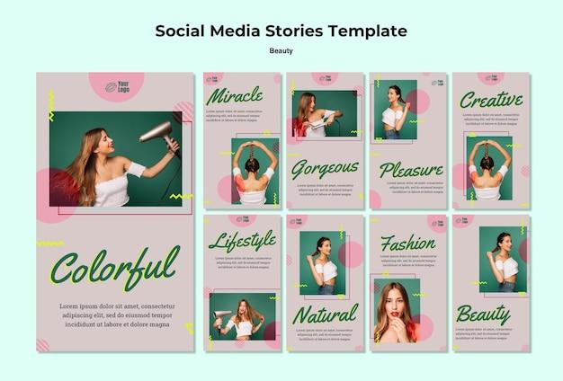 Modèle D'histoires Instagram De Concept De Beauté Psd gratuit