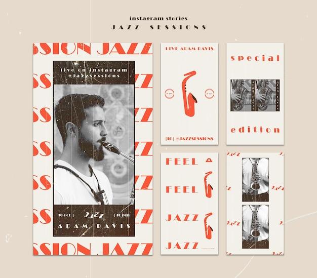 Modèle D'histoires Instagram De Concept De Jazz Psd gratuit