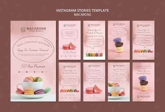 Modèle D'histoires Instagram Concept Macarons Psd gratuit