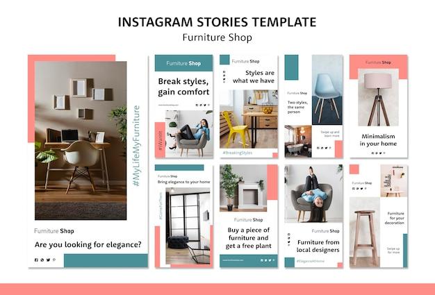 Modèle D'histoires Instagram De Concept De Magasin De Meubles Psd gratuit