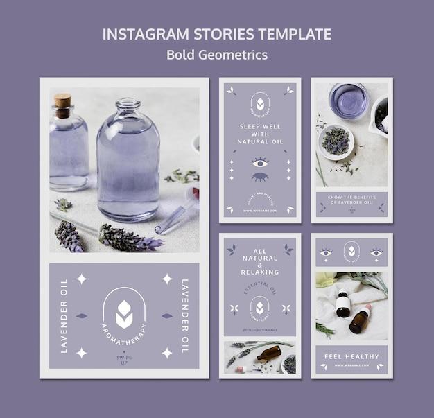 Modèle D'histoires Instagram D'huile De Lavande PSD Premium