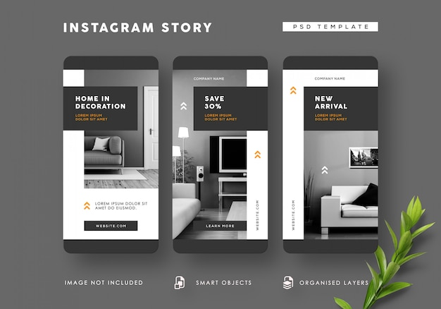 Modèle D'histoires Instagram Intérieures En Noir Et Blanc PSD Premium