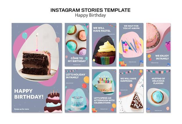 Modèle D'histoires Instagram Joyeux Anniversaire Psd gratuit