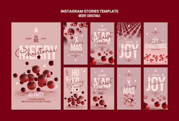 Modèle D'histoires Instagram Joyeux Noël PSD Premium