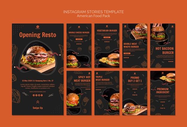 Modèle D'histoires Instagram Avec De La Nourriture Américaine Psd gratuit