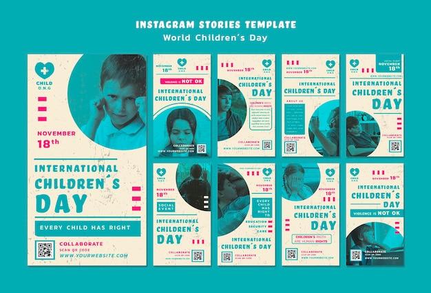 Modèle D'histoires Instagram Pour La Journée Des Enfants Psd gratuit
