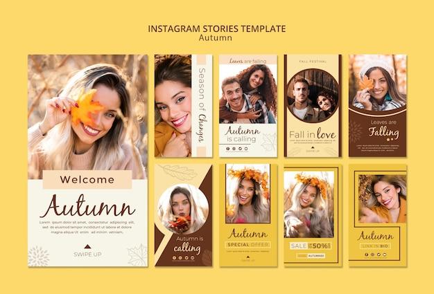 Modèle d'histoires instagram pour photos et filles d'automne Psd gratuit