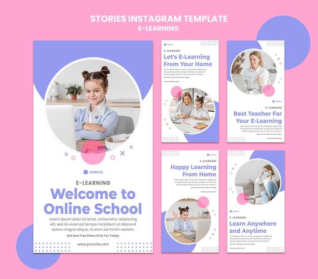 Modèle D'histoires Instagram Publicitaires E-learning PSD Premium