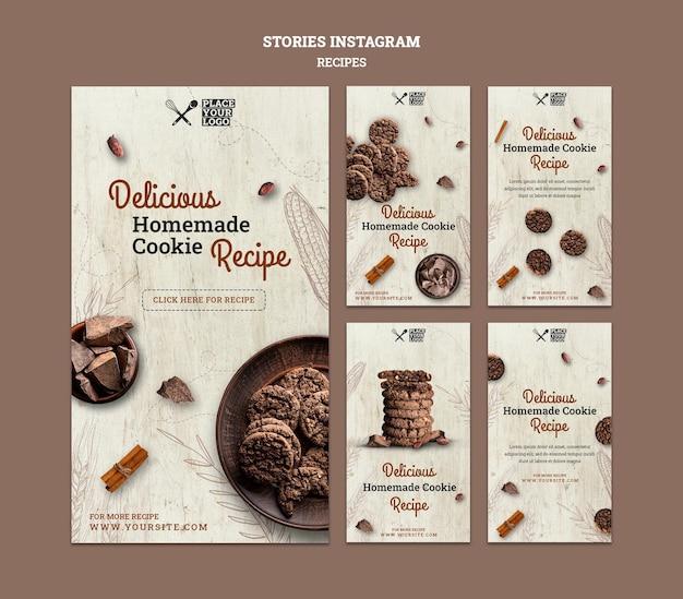 Modèle D'histoires Instagram De Recette De Cookie Psd gratuit