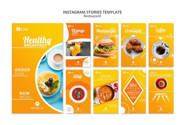 Modèle d'histoires promotionnelles d'un restaurant Psd gratuit
