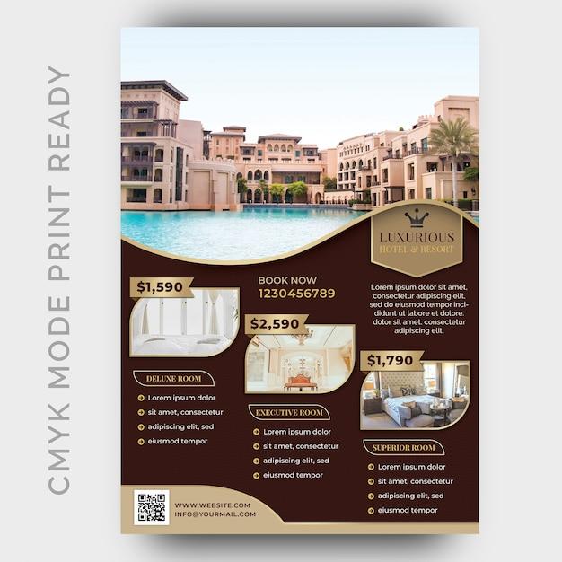 Modèle d'hôtel de luxe pour l'affiche, dépliant PSD Premium