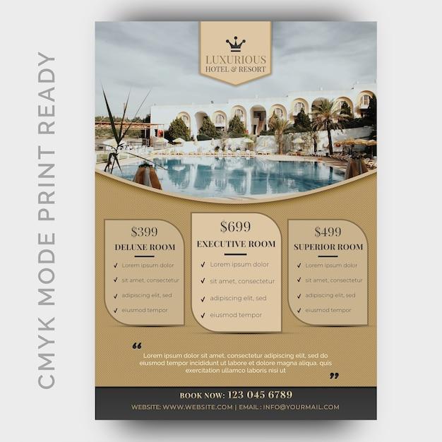 Modèle d'hôtel de luxe pour affiche, flyer, page de magazine PSD Premium