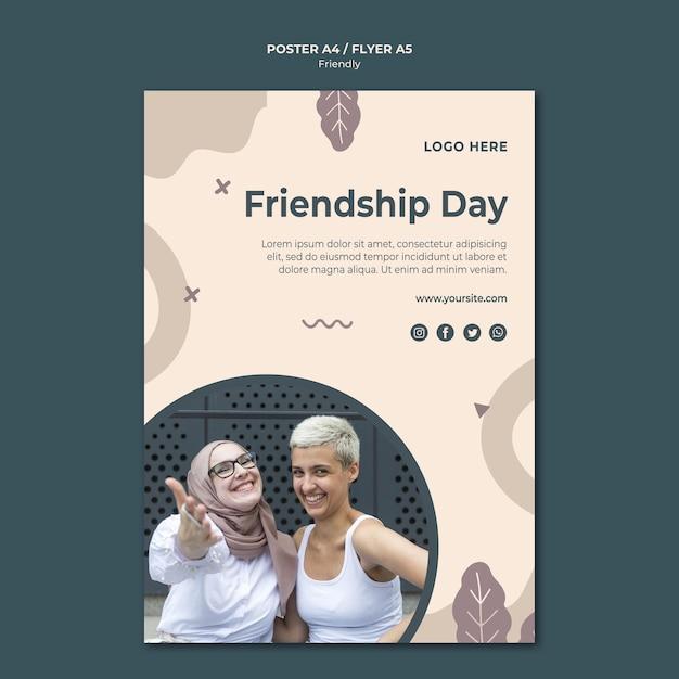 Modèle D'impression D'affiche De La Journée De L'amitié Psd gratuit