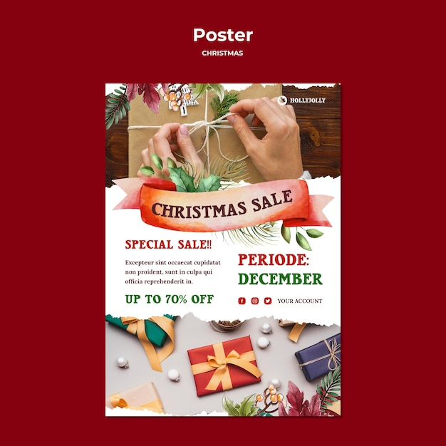 Modèle D'impression D'affiche De Vente De Noël PSD Premium
