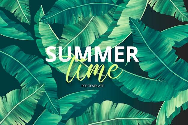 Modèle d'impression d'été avec des feuilles peintes à la main Psd gratuit