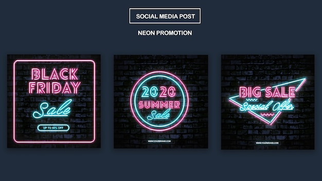 Modèle Instagram De Promotion De Néon Simple PSD Premium