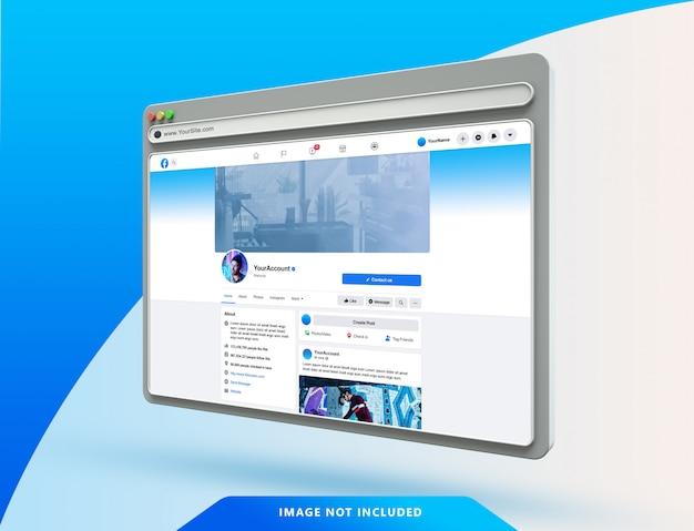 Modèle D'interface Utilisateur Facebook Sur Maquette De Navigateur Web 3d PSD Premium