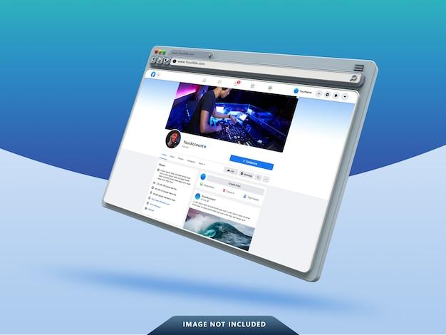 Modèle D'interface Utilisateur Facebook Sur La Maquette De Navigateur Web 3d PSD Premium