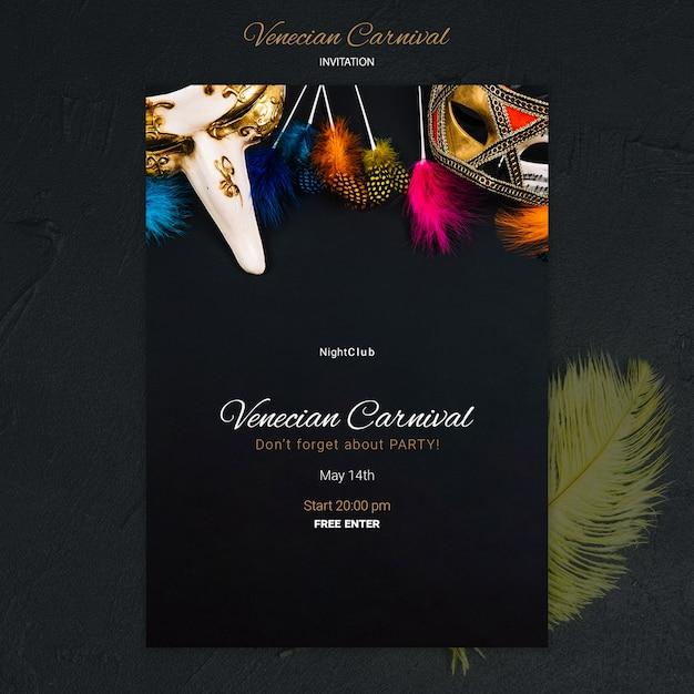 Modèle D'invitation Au Night Club Carnaval Vénitien Psd gratuit