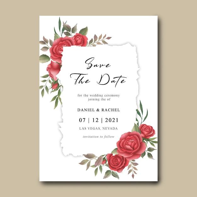 Modèle D'invitation De Mariage Avec Cadre De Bouquet De Fleurs Aquarelle Rose Rouge PSD Premium