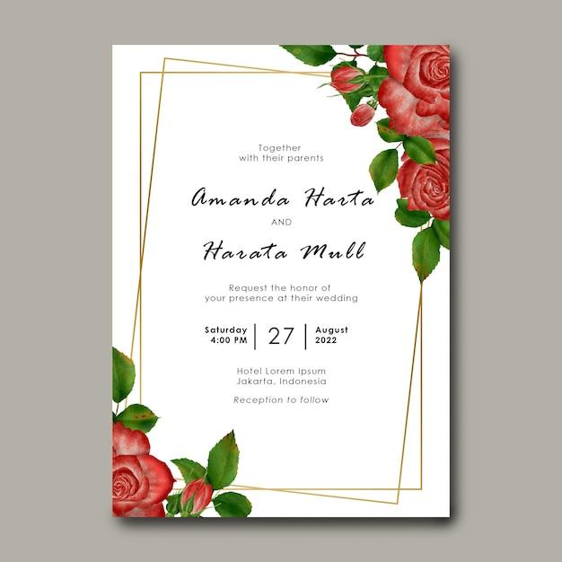 Modèle D'invitation De Mariage Avec Décoration De Cadre Fleur Rose PSD Premium
