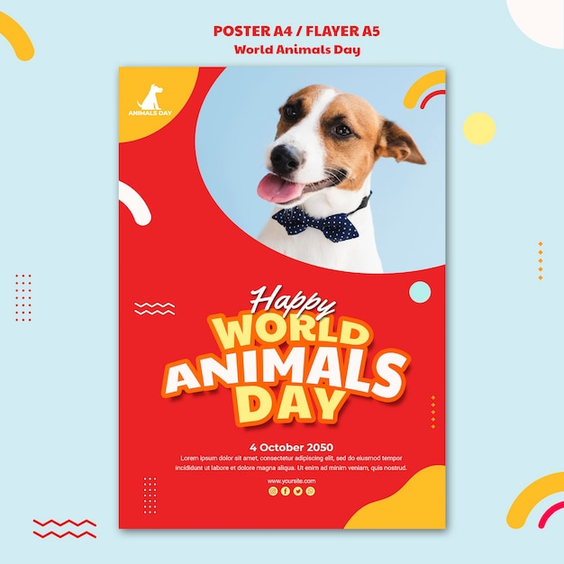 Modèle De Journée Mondiale Des Animaux De L'affiche Psd gratuit