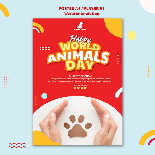 Modèle De Journée Mondiale Des Animaux Flyer Psd gratuit