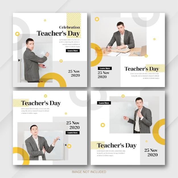Modèle De Lot De Publications Instagram Pour La Journée Des Enseignants PSD Premium