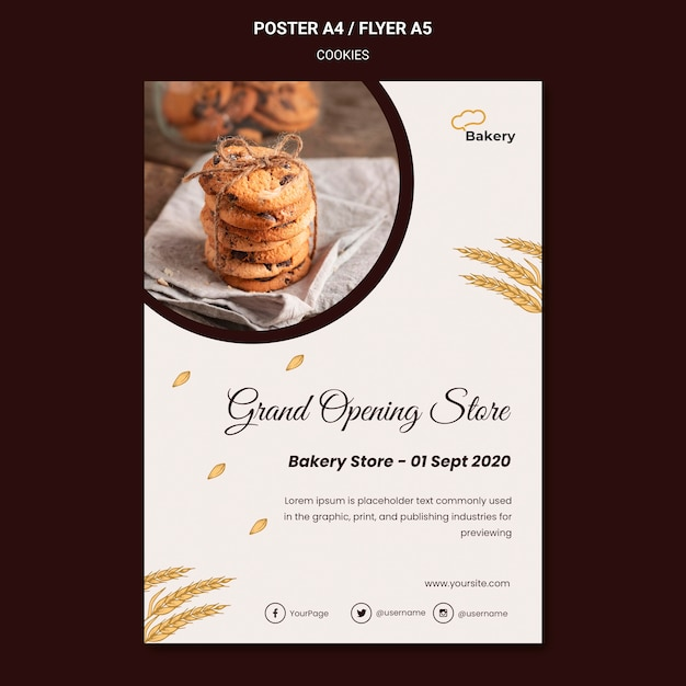 Modèle De Magasin De Cookies Affiche Psd gratuit