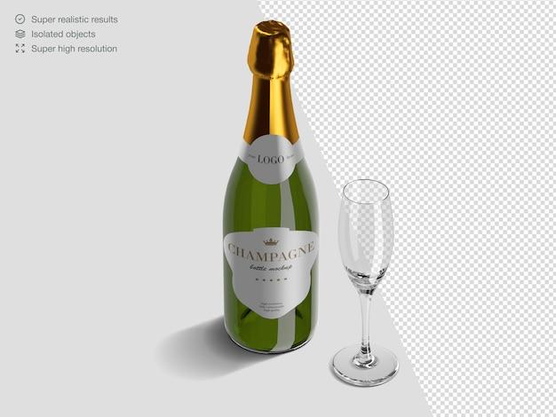 Modèle De Maquette De Bouteille De Champagne Isométrique Réaliste Avec Verre PSD Premium
