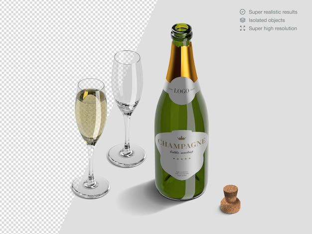 Modèle De Maquette De Bouteille De Champagne Isométrique Réaliste Avec Des Verres Et Du Liège PSD Premium