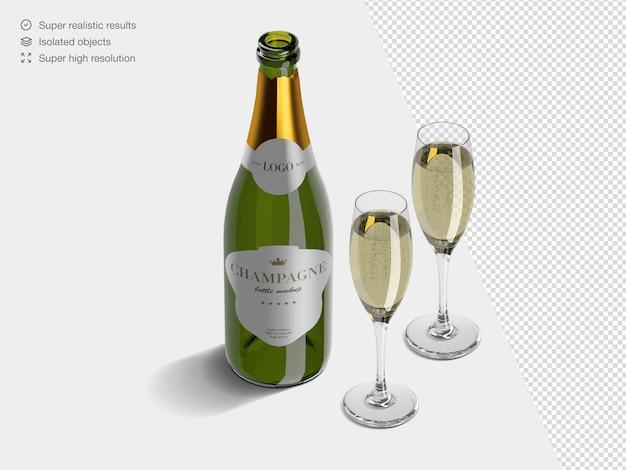 Modèle De Maquette De Bouteille De Champagne Isométrique Réaliste Avec Des Verres Pleins De Champagne PSD Premium