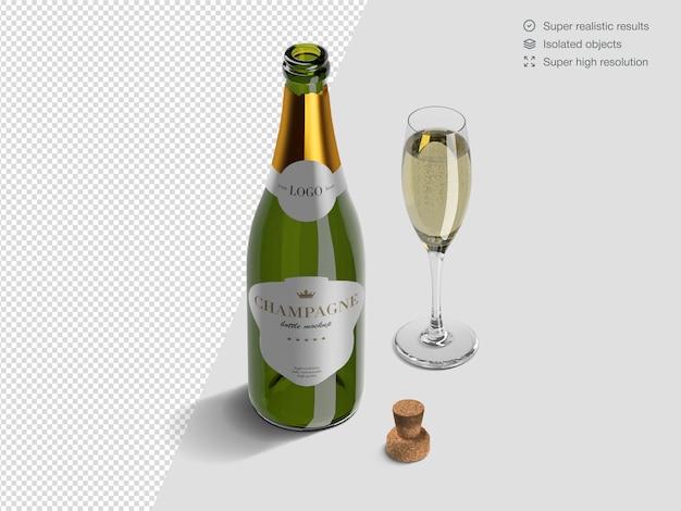 Modèle De Maquette De Bouteille De Champagne Ouvert Isométrique Réaliste Avec Verre Et Liège PSD Premium