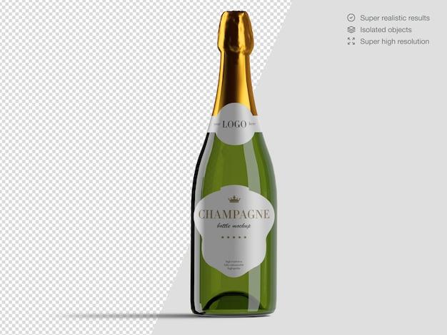 Modèle De Maquette De Bouteille De Champagne Vue De Face Réaliste PSD Premium