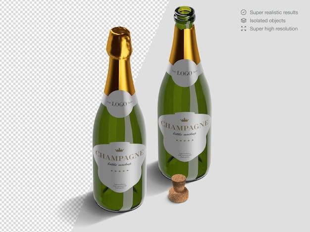 Modèle De Maquette De Bouteilles De Champagne Isométrique Réaliste Ouvert Et Fermé Avec Du Liège PSD Premium