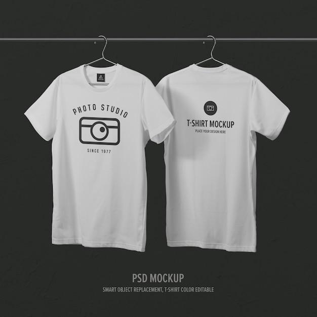 Modèle De Maquette De T-shirt Avant Et Arrière Avec Cintre PSD Premium