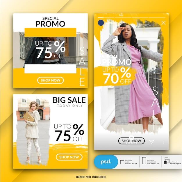 Modèle de média social de bannière web de mode PSD Premium