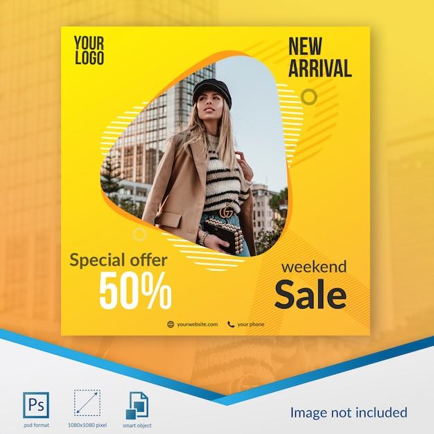 Modèle de média social spécial pour vente à prix réduit PSD Premium