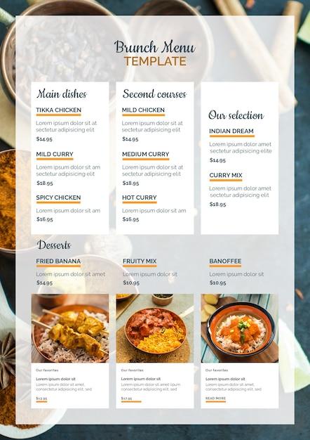 Modèle de menu de brunch de cuisine indienne Psd gratuit