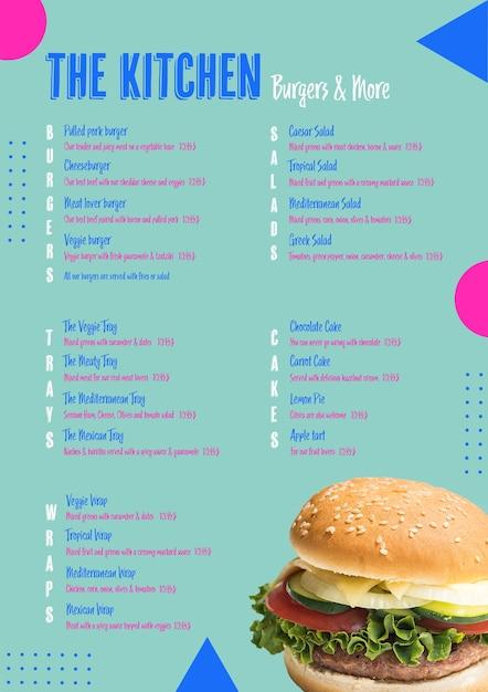 Modèle De Menu De Burger De Cuisine Psd gratuit