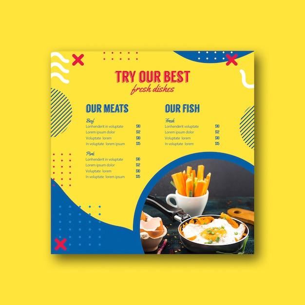Modèle de menu carré dans le style de memphis Psd gratuit
