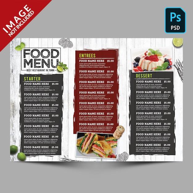 Modèle de menu de cuisine vintage PSD Premium